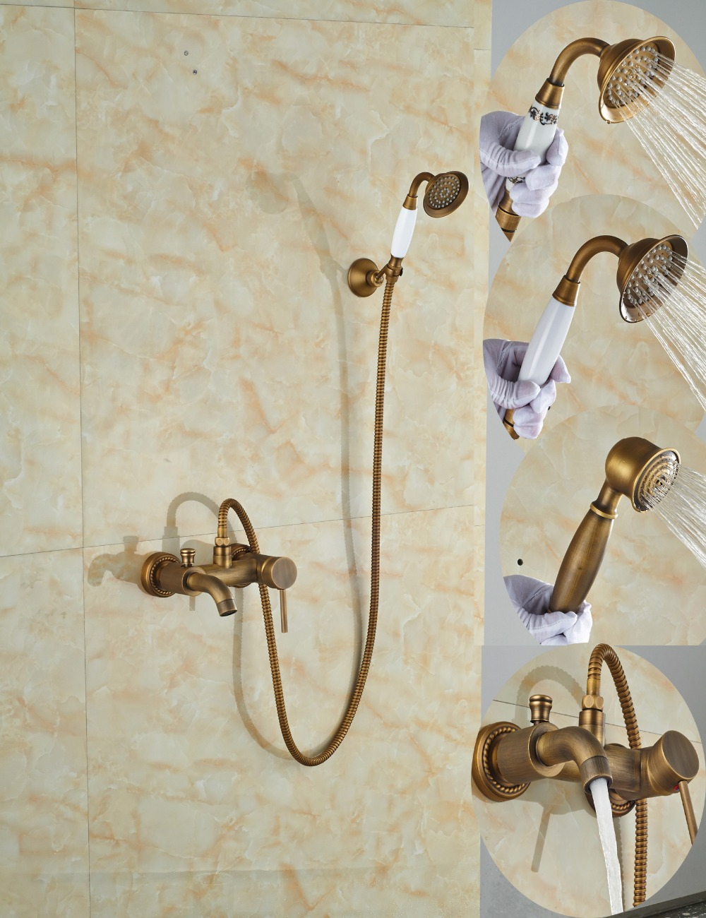 Wholesale And Retail Luxury Antique Brass Wall Mounted Bathroom Tub Faucet Single Handle Valve Mixer Tap W/ Hand Shower Sprayer