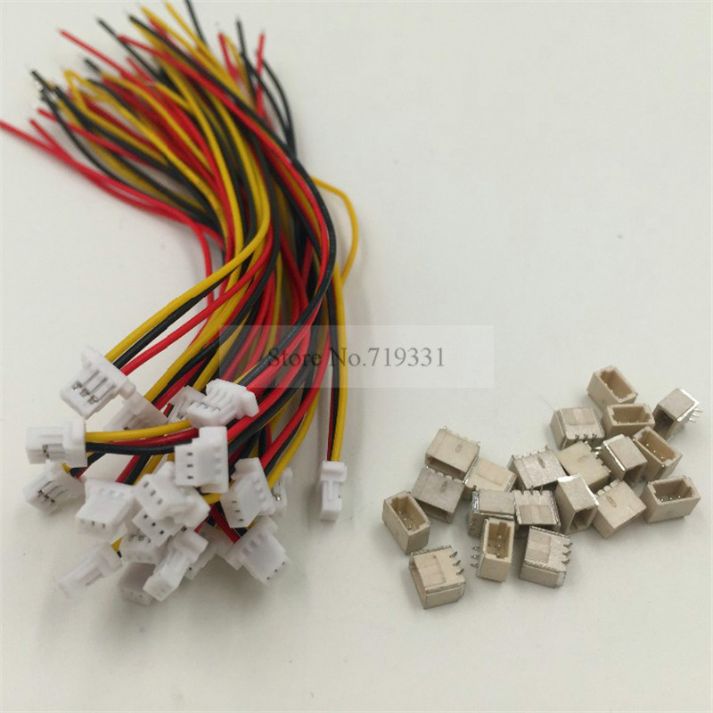 10sets Mini Micro SH 1.0 3-Pin JST Connector with Wires Cables 100MM mini micro jst 2 0mm t 1 6 pin connector w wire x 10 sets 6pin 2 0mm