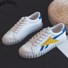Woman Shoes 2019 Spring New Fashion Lace-up Women Shoes Casual Low Platform White PU Leather Women Casual Shoes Sneakers m320 pu leather shoes women white sneakers spring autumn women lace up flats shoes casual woman footwear ladies platform shoes