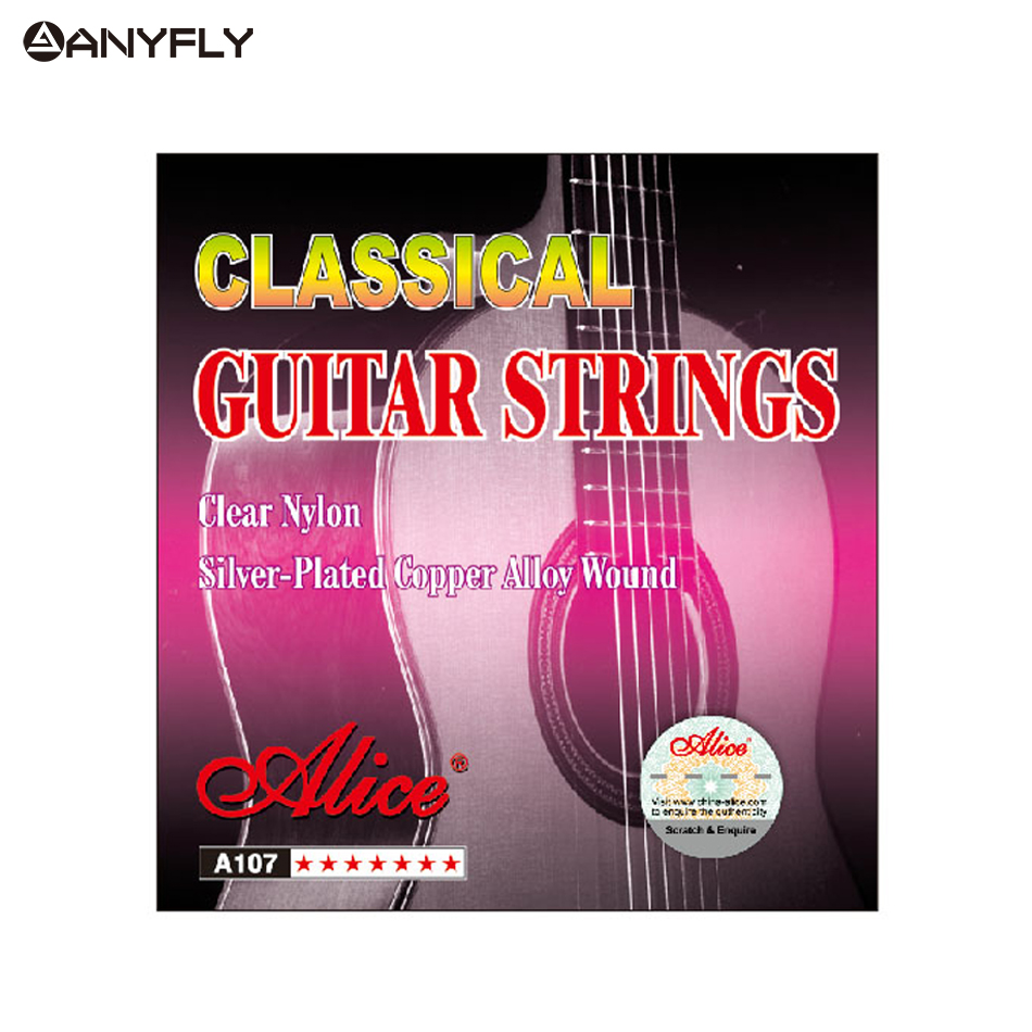 Original Alice A107 1st-6th 1 Set Classical Guitar Strings Clear Nylon Core Silver Plated Copper Alloy Wound Normal Tension alloy classical guitar capo black silver
