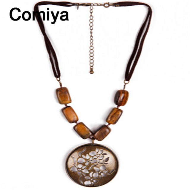 Étnico Comiya accesorios hechos a mano de resina de aleación de zinc de la vendimia colgante grande collares colares feminino cuerda collar de cadena para las mujeres