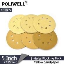 Poliwell 10 шт 5 дюймов 8 отверстий песчаная бумага 125 мм 60