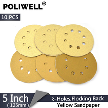 POLIWELL 10PCS 5 Inch 8 Hole Sandpaper 125mm 60~1000 Grit Yellow Sanding Paper Discs for Hook and Loop Festool Sander