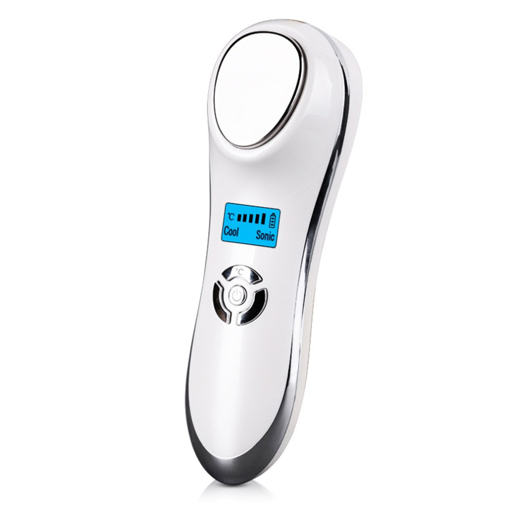 1set Ultrasonic Hot Cold Firming Face Vibration MassagerHandheld USB Rechargeable Electric Skin Firming Wrinkle Acne Removal cm 1 2 ultrasonic skin firming