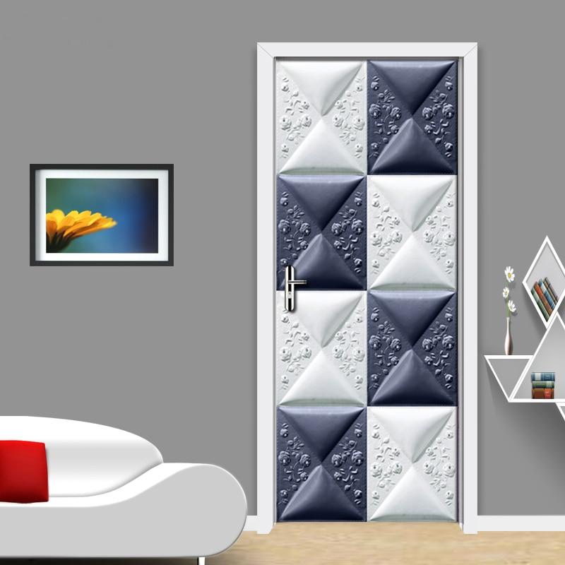 3D Geometric Creative Door Stickers Mural Home Decoration Modern Living Room Bedroom Door Sticker PVC Waterproof 3D Wallpaper creative waterproof flowers pattern wall stickers for living room bedroom decoration