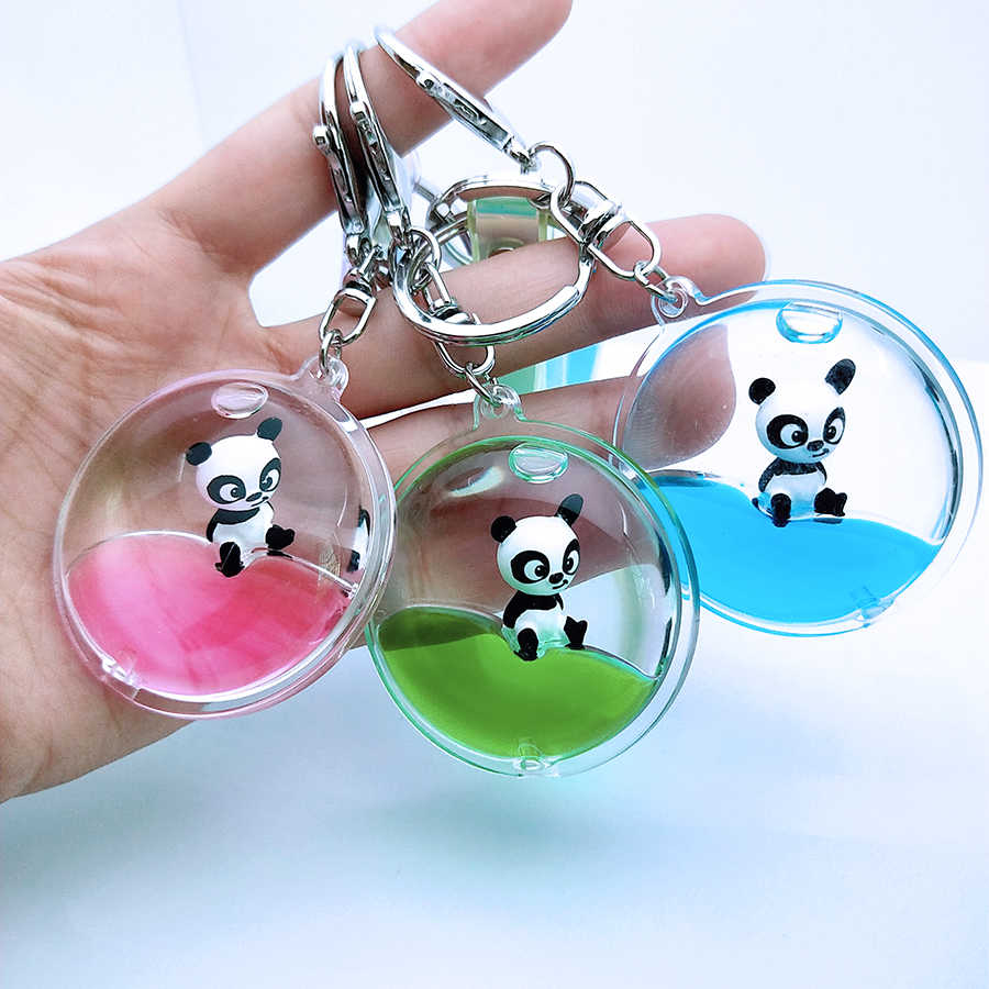Moving Glitter Liquid Key Chain Cute Cartoon Animal Heart Shaped Keyring Surf Floating Panda For Women Men Keychain Couples Gift