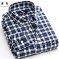 Langmeng фланель 2016 моды для мужчин осень зима с длинным рукавом плед тепловой 100% хлопок теплый случайные рубашки camisa masculina