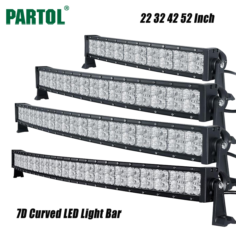 Partol 7D 22 32 42 52 Curved LED Light Bar Offroad Led Work Light Driving Lamp Combo Beam Truck ATV SUV Boat 4x4 4WD 12V 24V 2pcs 36w 7 led light bar spot beam offroad driving light 12v 24v 4x4 truck for atv spotlight fog lamp
