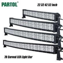 Partol 7D 22 32 42 52 «courbe LED Light Bar Offroad Led Light Work Conduite Lampe Combo Faisceau Camion ATV SUV Bateau 4×4 4WD 12 V 24 V