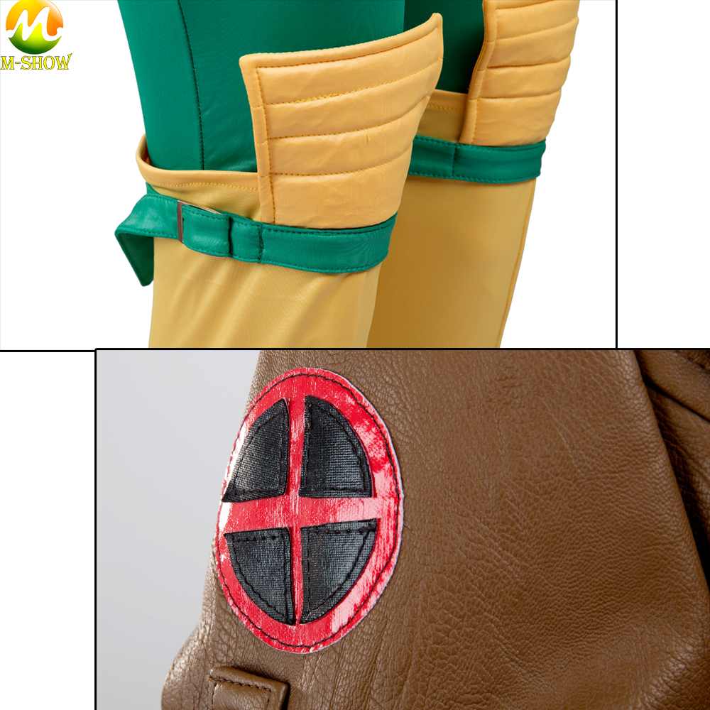 X-men Rogue Cosplay Costume  Superhero Rogue Leather Jacket Jumpsuit Halloween Costumes For Women Custom Made