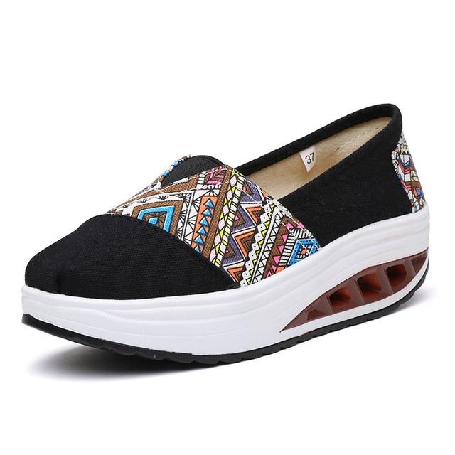 Богемия Национальный Стиль Клин Качели Обувь для Женщин 2016 Дышащий Платформы Повседневная Обувь Женская Холст Гуляя Дамы