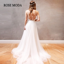 Rose Moda Backless Wedding Dresses 2019 Beach Dress with