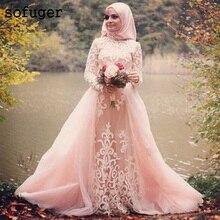 Islamic Muslim Blush Pink High Neck Arabic Long Sleeve Appliques 2019 Wedding Dress Boho Sofuge Vestido De Noiva