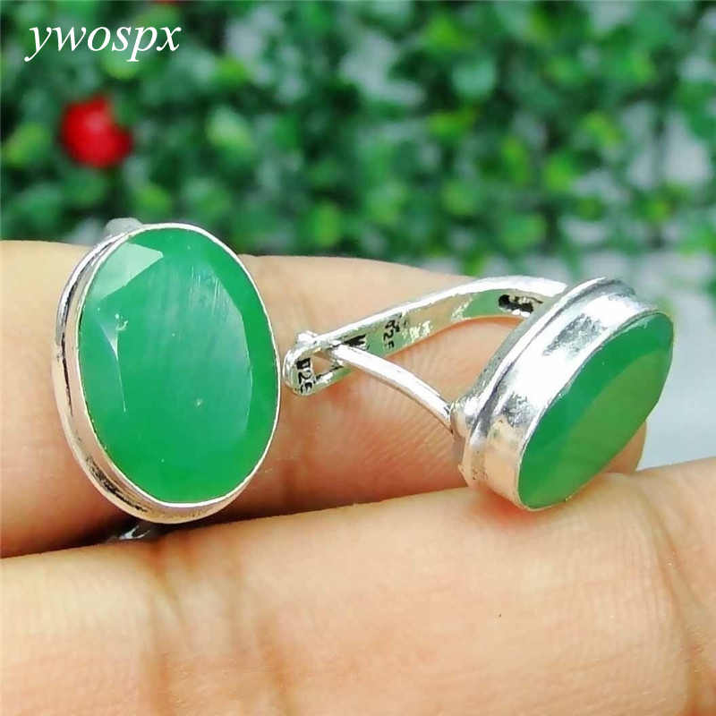 YWOSPX Elegant Green Stone Brincos Silver Color Stud Earrings for Women Jewelry Wedding Statement Earring Gifts Y30