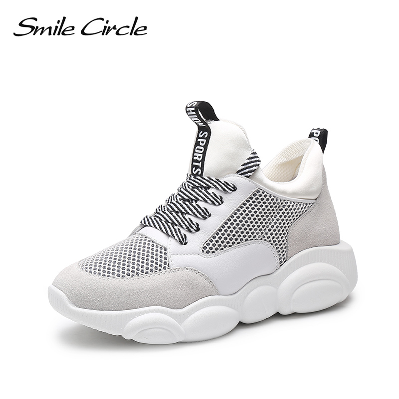 Smile Circle Genuine Leather Sneakers women shoes 2019 Breathable Mesh Flat Thick bottom sneaker Outdoor Casual
