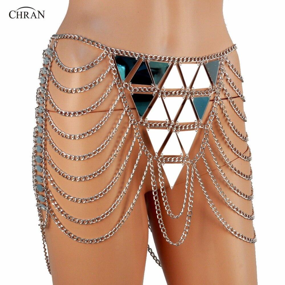 Chran Mirror Chain Metallic Skirt Lingerie Disco Party Mini Dress Beach Cover Up Chain Necklace Bra Bralette Jewelry CRM282 ...