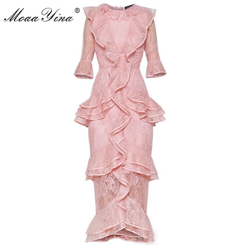 MoaaYina Designer Runway Kleid Sommer Frauen Schmetterling Ärmel Spitze Aushöhlen Cascading Rüschen Urlaub Partei Prom Elegante Kleid