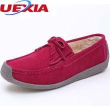 UEXIA Leather Flats Soft Warm Winter Women Shoes tassels Fur Plush Casual Loafers Ladies Moccasins High Quality Flat Shoes Women