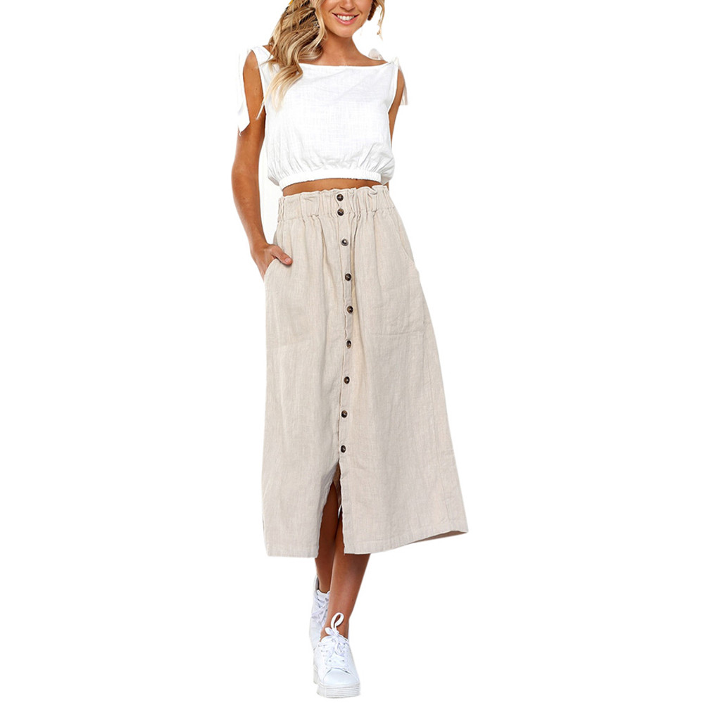 Summer Gothic Skirt Women Vintage Solid Button Pockets High Wais Long Skirt Women Sexy Harajuku Maxi Skirts Womens Clothes 2020