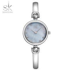 Shengke Reloj de Mujer pulsera relojes de marca de moda Mujer Ginebra Reloj de cuarzo Reloj impermeable de regalo Reloj de pulsera 2017