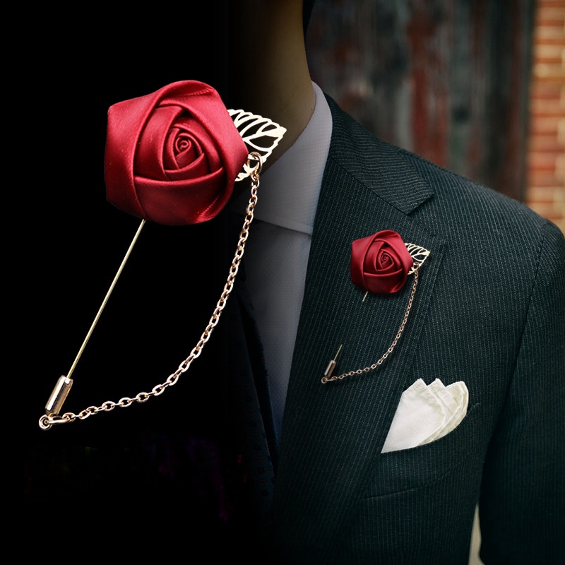 2Pcs Men's Suit Rose Flower Brooches Pins Canvas Fabric Ribbon Tie 10 Colors Brooch for Women And Men Clothing Dress Accessories