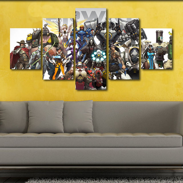 Overwatch Canvas Poster Characters Print Painting Wall Art 5 Piece ...