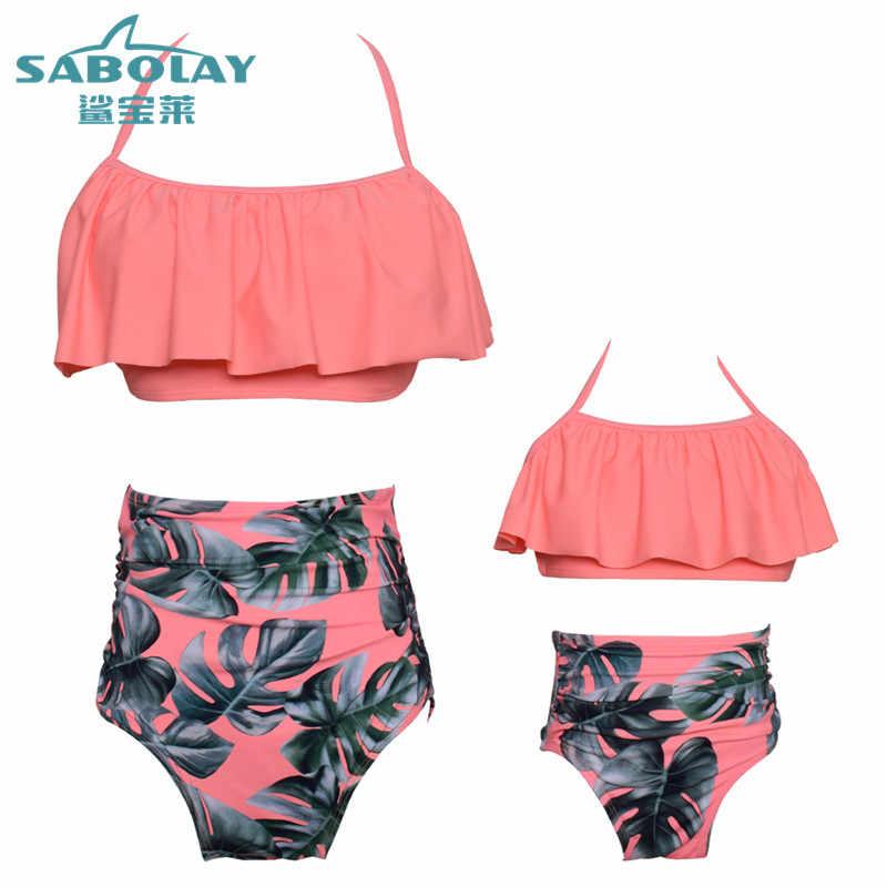 dabb3ea7cc Family Matching Swimsuit Bikni Clothes Summer 2018 Swimsuit Girls Triangle Bikini  Women Kids Girls Bathing Suit