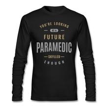 Custom Long Sleeve Valentine's Future Paramedic T-shirt Men Geek Large Size Couple Backing Tshirt
