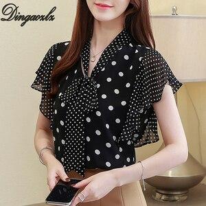 Image 2 - Dingaozlz chemisier élégant à pois pour femme, mode coréenne, chemisier à manches courtes, col en v, été top en mousseline