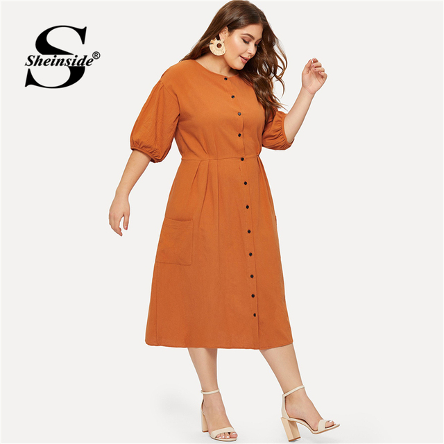 Sheinside Plus Size Orange Pocket Button Front Shirt Dress Women Half Sleeve Bodycon Summer Dresses 2019 Casual Solid Midi Dress 2