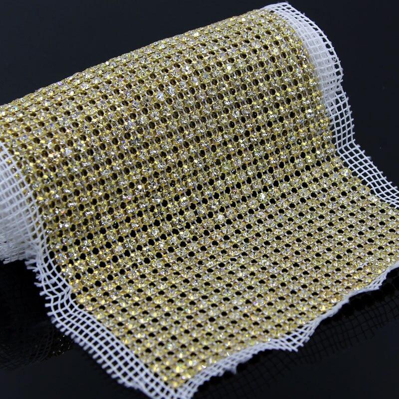 1 Yard 24 Rows Net Yarn Rhinestone Trim Clear Crystal Appliques Hox Fix Sewing Dress, Sash, Wedding Bridal Belt