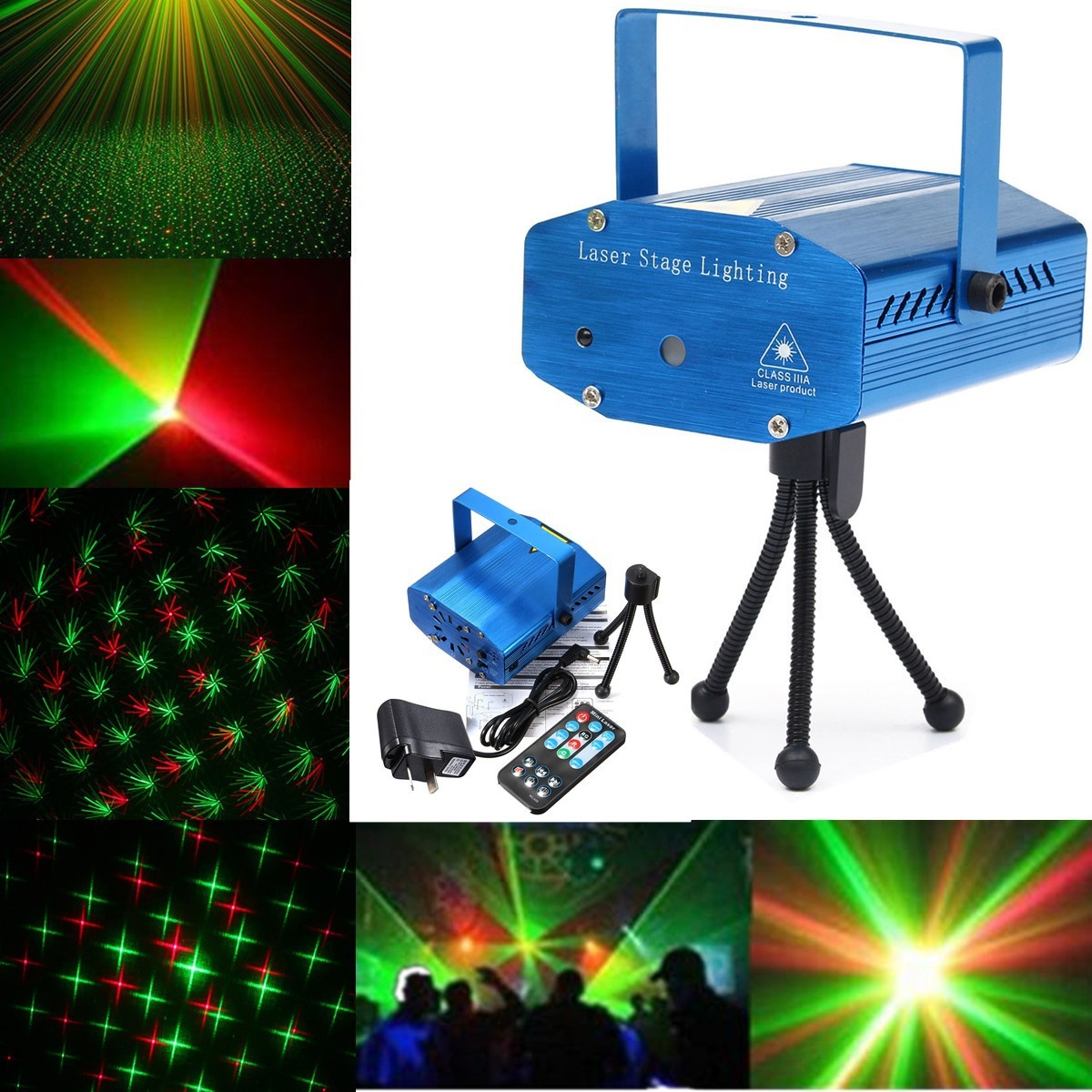 HENYNET Portable Mini R & G Auto/Voice Mic Control Xmas Dj Disco Party Led Laser Stage Light Lighting Projector Remote-Blue