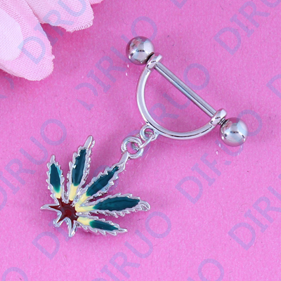 Plant Color Maple Nipple ring piercing body jewelry free shipping Nickel-free fashion jewelry free shipping pair