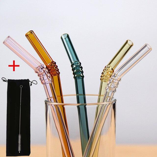 5 cái/bộ Colorled Kính Ống Hút Có Thể Tái Sử Dụng Bình Tập Uống Có Ống Hút Kính Bộ túi đựng Cọ Bo Cong Kính Có Ống Hút Cho Sinh Tố Nước Ép trà