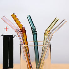 5Pcs/set Colorled Glass Straw Reusable Drinking Straws Glass set with Brush bag Bent Curved Glass Straws For Smoothies Juice Tea(China)