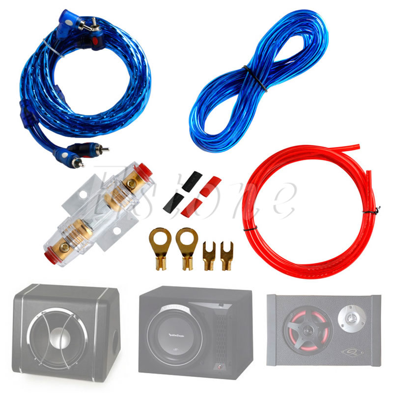 Qii lu Car Audio Subwoofer Wire,4 Guage 2800W Car Audio Subwoofer Amplifier Speaker Installation Wire Cable Kit Fuse Suit