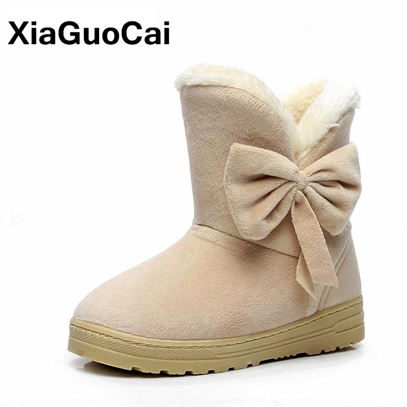 Brand 2018 Women's Shoes Winter Boots For Women Comfortable Solid Warm Female Ankle Boots With Fur Botas Footwear Butterfly-knot winter women snow boots fashion footwear 2017 solid color female ankle boots for women shoes warm comfortable boots