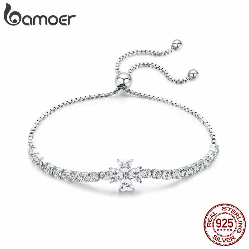 BAMOER Genuine 925 Sterling Silver Shining  Clover Flower Chain Bracelets for Women Clear CZ Fashion Silver Jewelry BSB007