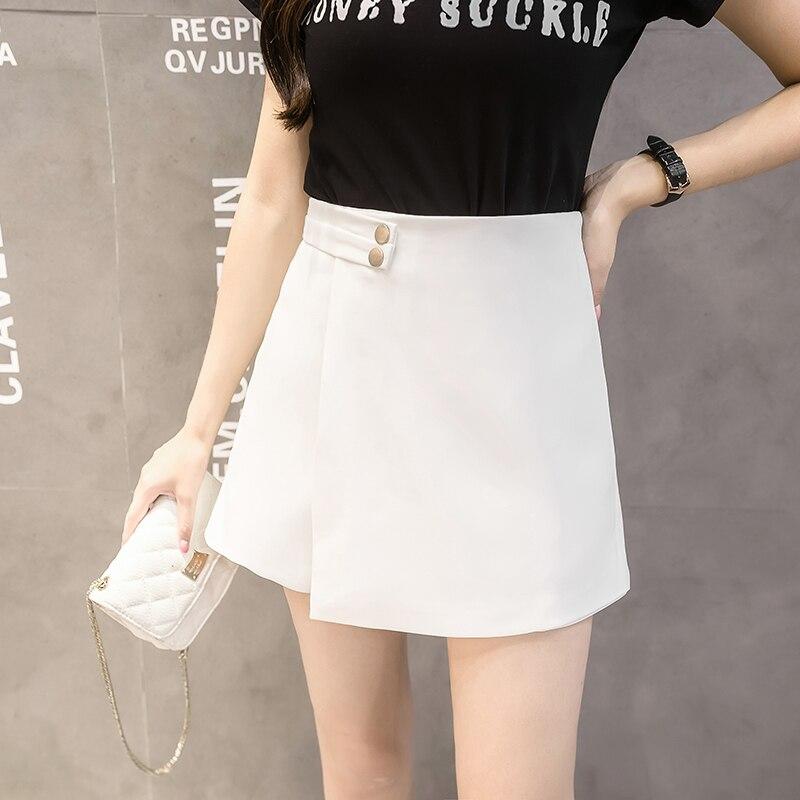 4ea743a46 2019 nuevos pantalones cortos de Mujer Faldas primavera moda pantalones  cortos de cintura alta Mujer Casual Culottes mujer negro/rosa/blanco ...
