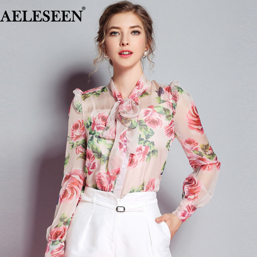 AELESEEN Luxury Office Ladies New Blouses 2018 Silk Full Sleeve Fashion Bow Rose Print High Quality