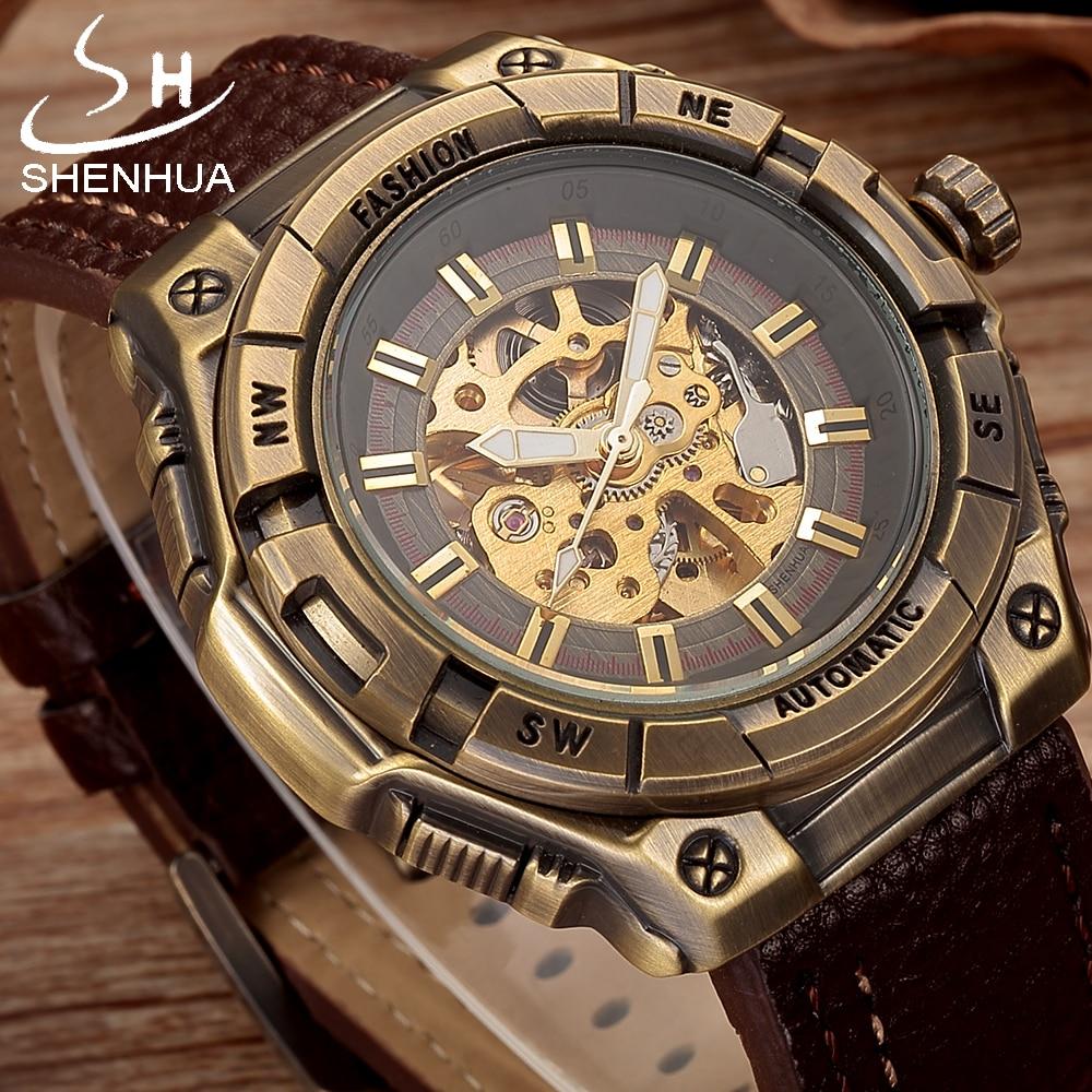 SHENHUA Steampunk Mechanical Transparent Watch Men Vintage Bronze Skeleton Automatic Wrist Watches Pu Leather Wristwatch Clock