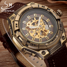 цена на SHENHUA Steampunk Mechanical Transparent Watch Men Vintage Bronze Skeleton Automatic Wrist Watches Pu Leather Wristwatch Clock