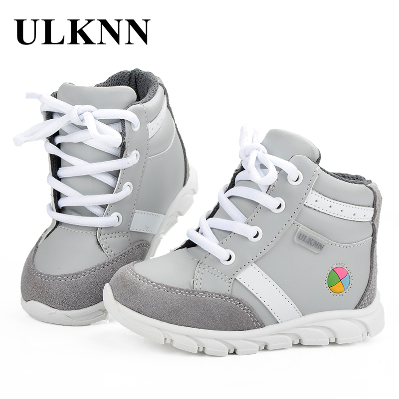 ULKNN Children Sneakers Boys Kids Sneakers Girls Sport Shoes For Running Outdoor School Shoes Lace Up Massage Gray Size 20-25 hobibear classic sport kids shoes girls school sneakers fashion active shoes for boys trainers all season 26 37