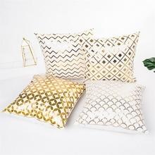 Fuwatacchi Merry Christmas Cushion Cover Gold Linen Cotton Soft Cute Throw Pillow Decorative Sofa Case Pillowcase