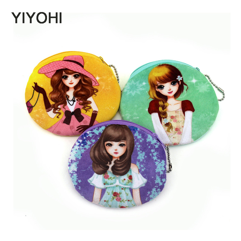 YIYOHI 11cm*10cm Cute Style Beautiful Grils Zipper Plush Coin Purse KawaiiChildren Coin Purse Women Wallets Mini Change Pouch yiyohi 10cm 10cm cute style novelty beautiful gril zipper plush square coin bag purse kawaii children storage bag women wallets