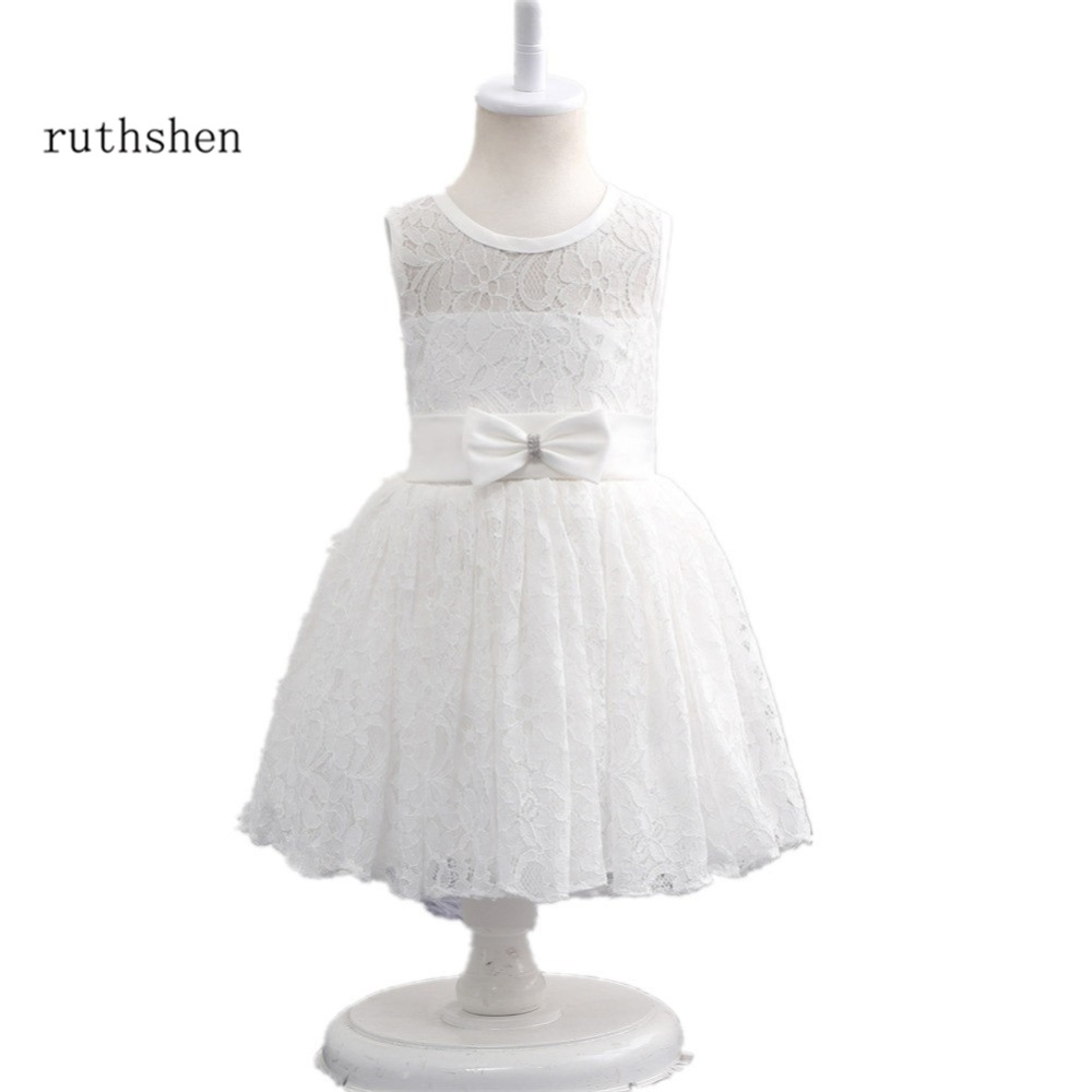 Ruthshen Flower Girls Dresses White Ivory Short Formal Wedding