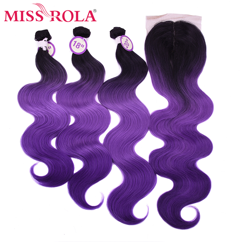 Miss Rola Synthetic Hair Bundles With Lace Closure Body Wave Bundles With Closure Ombre Color Three Bundles With Closure 230g