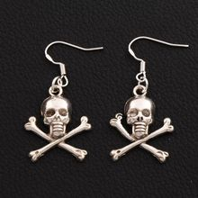Pirate Skull Earrings 925 Silver Fish Ear Hook 40pairs Antique Silver Chandelier E981 41.4x19.6mm 40pairs antique silver filigree heart cross religious earrings 925 silver fish ear hook jewelry e425 20 5x45 3mm