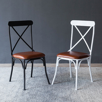 INDUSTRIAL RETRO RUSTIC URBAN FRENCH BISTRO STYLE METAL DINING CHAIR SEAT CROSS BACK CAEF RESTAURANT DINING ROOM FURNITURE