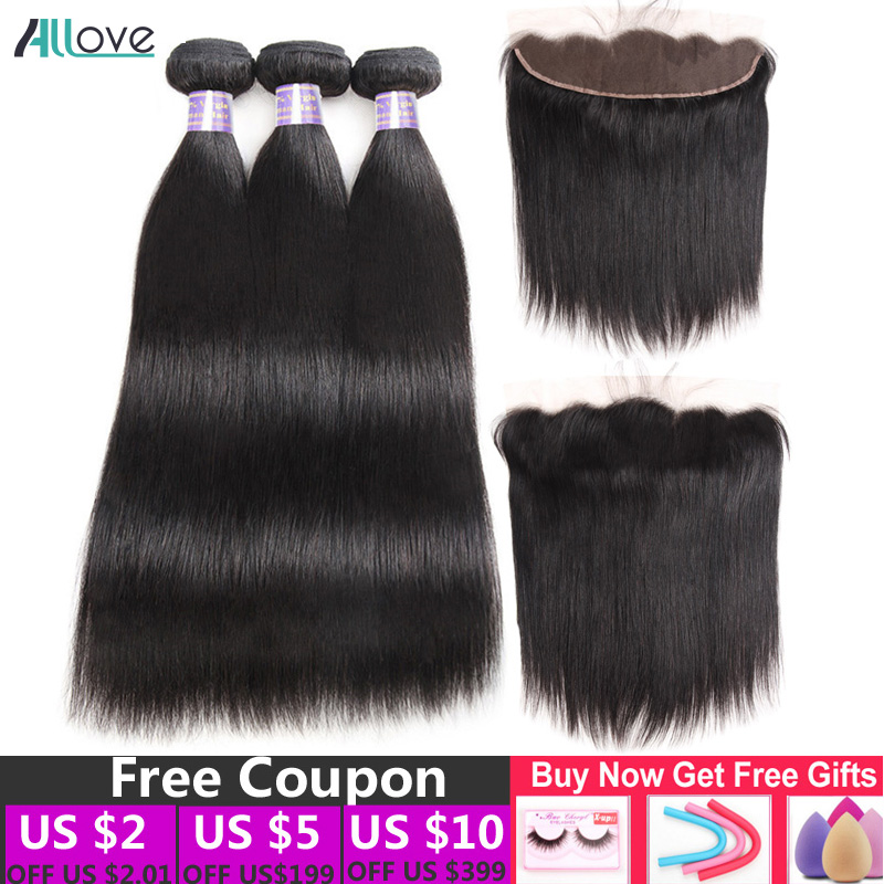 Allove Brazilian Straight Hair Bundles With Fontal Closure 100 Human Hair Weave Bundles with Frontal Wig
